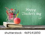 Small photo of Happy teacher's day concept with freehand text message announcement & smiley face on green chalkboard background: Students sending greeting message to school teachers/ academia on special occasion