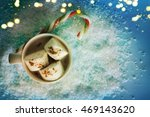 christmas background with cup... | Shutterstock . vector #469143620
