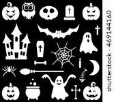 white halloween icons set | Shutterstock .eps vector #469144160