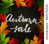 frame of autumn leaves painted... | Shutterstock .eps vector #469170254