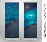 islamic greeting on roll up...   Shutterstock .eps vector #469174274