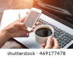 businessman using laptop with... | Shutterstock . vector #469177478