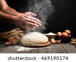 baker cooking bread. man slaps... | Shutterstock . vector #469190174