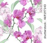 orchid seamless pattern | Shutterstock . vector #469197143