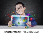 cute little boy smiling at the... | Shutterstock . vector #469209260