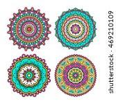 set of colorful doodle mandalas.... | Shutterstock .eps vector #469210109