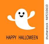 funny flying ghost. smiling... | Shutterstock .eps vector #469210610