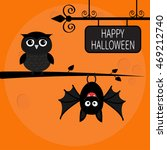 happy halloween card. bat... | Shutterstock .eps vector #469212740
