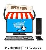 desktop computer with online... | Shutterstock .eps vector #469216988