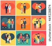set of happy family homosexual... | Shutterstock . vector #469228874