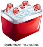 Cherry Soda Cans In Ice Box...