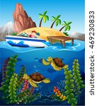 people in boat and turtles...   Shutterstock .eps vector #469230833