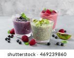 chia seed pudding with various... | Shutterstock . vector #469239860