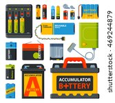 Stock vector battery electricity charge technology and accumulator alkaline battery powered energy elements 469244879