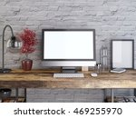 mockup monitor on a wooden desk ... | Shutterstock . vector #469255970