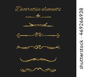 gold text dividers set.... | Shutterstock .eps vector #469266938