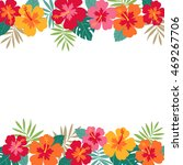 hibiscus and palm leaf border... | Shutterstock .eps vector #469267706