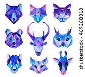 cosmic polygonal animals set.... | Shutterstock . vector #469268318