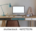 mockup poster display on the... | Shutterstock . vector #469270196