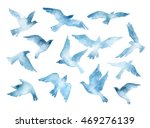 Stock photo flying bird silhouettes with watercolor texture isolated on white background hand painted natural 469276139