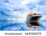 Small photo of International Container Cargo ship in the ocean, Freight Transportation, Shipping, Nautical Vessel