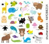 zoo animal set. cute cartoon... | Shutterstock . vector #469288214