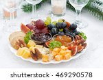 cheese and fruit plate to the... | Shutterstock . vector #469290578