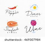 set of watercolor labels... | Shutterstock .eps vector #469307984