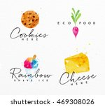 set of watercolor labels... | Shutterstock .eps vector #469308026
