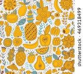 Fruit Doodles Seamless Vector...