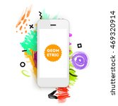 mobile phone icon with abstract ... | Shutterstock .eps vector #469320914