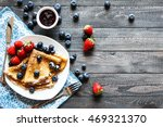 delicious crepes breakfast with ... | Shutterstock . vector #469321370