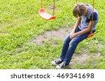 sad lonely boy sitting on... | Shutterstock . vector #469341698
