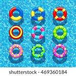 pool rings on the blue ocean...   Shutterstock .eps vector #469360184