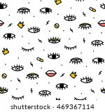 Seamless pattern in the style of psychedelic eyes with his lips. Pattern for fashion with eyes. The template for the cover fabric, books. Modern design for the fabric. | Shutterstock vector #469367114