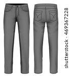 men's jeans  front  back views .... | Shutterstock .eps vector #469367228