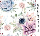 watercolor succulents seamless... | Shutterstock . vector #469390580