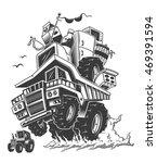 construction truck on back...   Shutterstock . vector #469391594