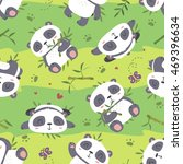 vector cartoon style cute panda ... | Shutterstock .eps vector #469396634
