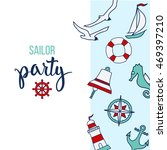 pattern with nautical elements... | Shutterstock .eps vector #469397210