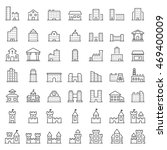 building icon set in thin line...   Shutterstock . vector #469400009