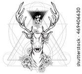deer head with peony flowers... | Shutterstock .eps vector #469406630