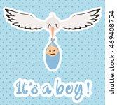 newborn. it's a boy  vector card | Shutterstock .eps vector #469408754