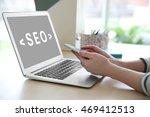seo technology concept. woman...   Shutterstock . vector #469412513