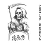 death with a scythe on the... | Shutterstock . vector #469415099