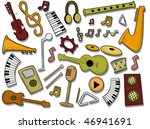 Musical Icons - Vector - stock vector