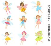 cute fairies in pretty dresses... | Shutterstock .eps vector #469418603