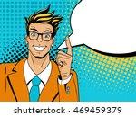 wow pop art man. young happy...   Shutterstock .eps vector #469459379