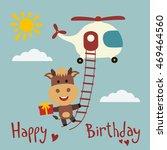 happy birthday  funny cow... | Shutterstock .eps vector #469464560