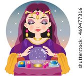 fortuneteller with crystal ball | Shutterstock .eps vector #469477316